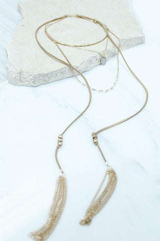 Tan Multi Layered Necklace