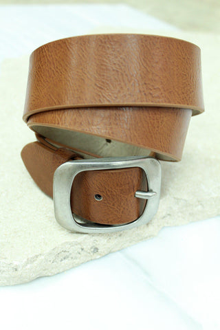 Tan Belt With Silver Buckle