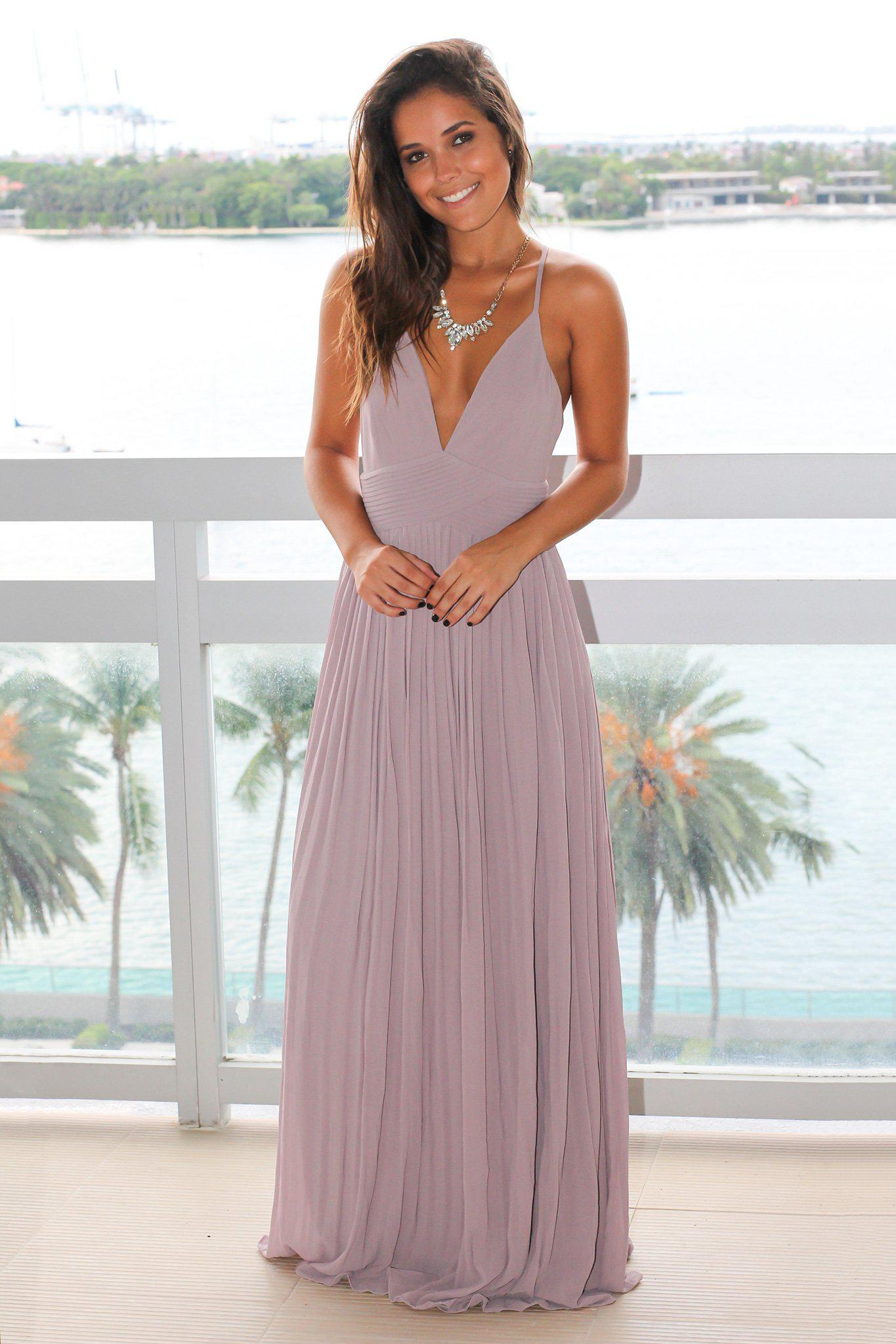Taupe Gray Pleated Maxi Dress with Criss Cross Back
