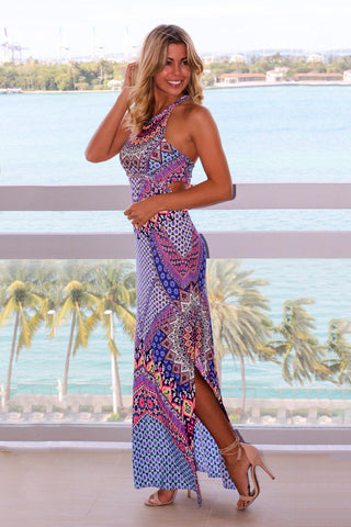Multi Colored Maxi Dress with Cutouts and Slit