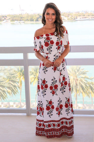 White Floral Off The Shoulder Maxi Dress