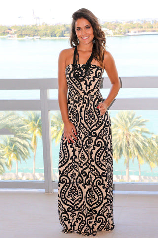 Black and Tan Printed Maxi Dress with Pockets
