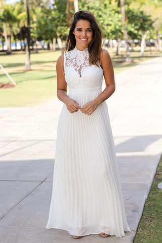 White Lace Maxi Dress with Pleated Bottom