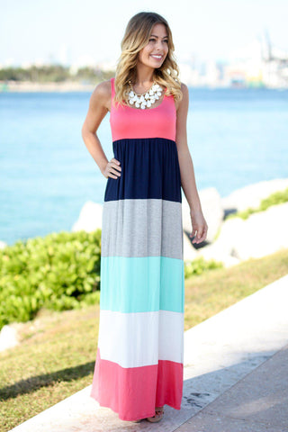 Coral Color Block Maxi Dress