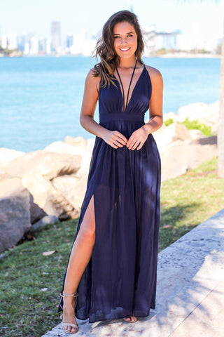 Navy Maxi Dress with Criss Cross Back