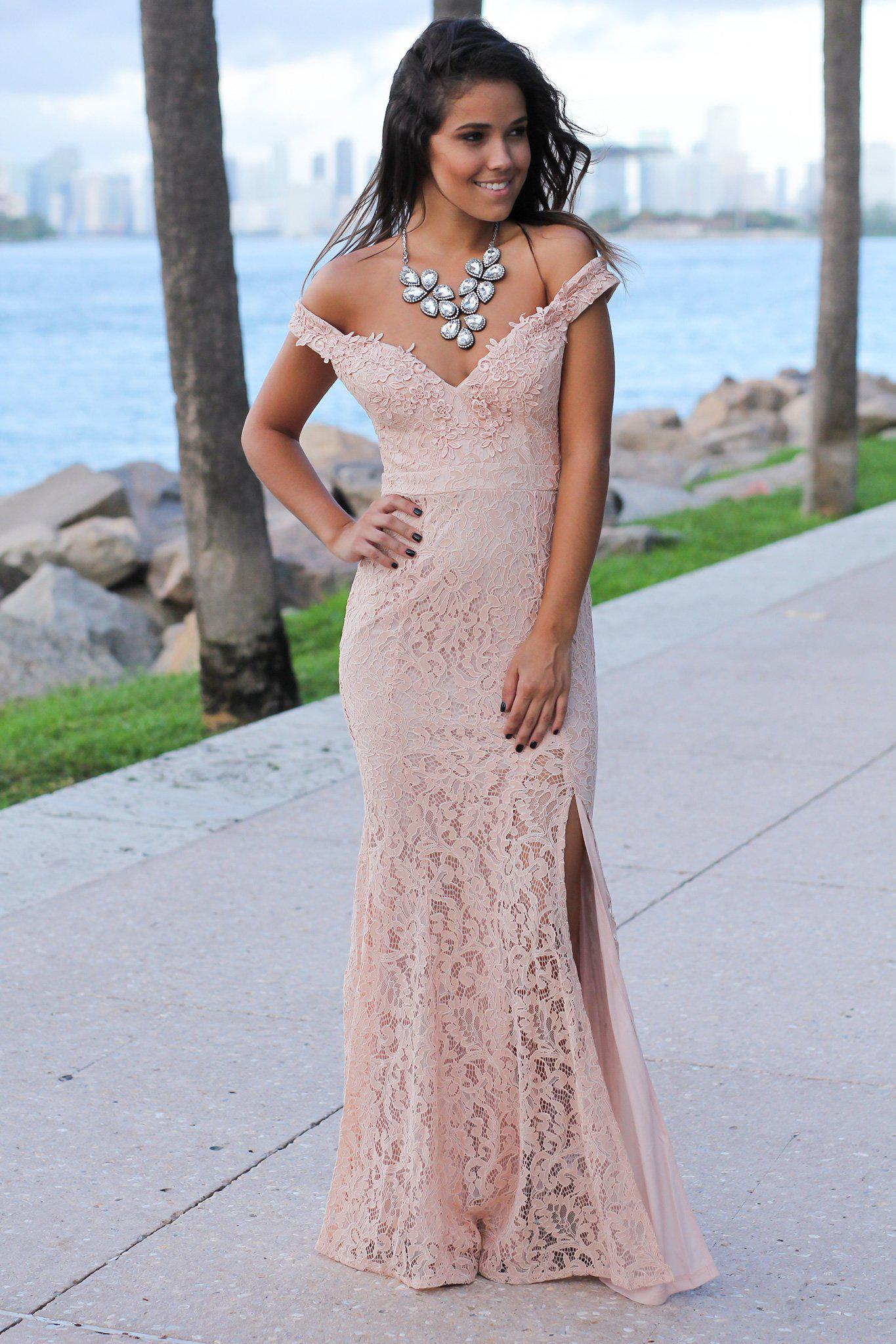 96dc9265ff233 Blush Lace Off Shoulder Maxi Dress | Maxi Dresses – Saved by the Dress
