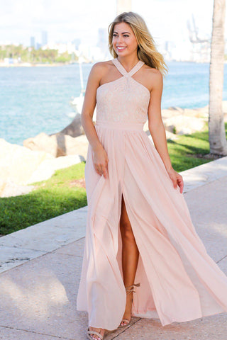 Blush Maxi Dress with Halter Neck Lace Top