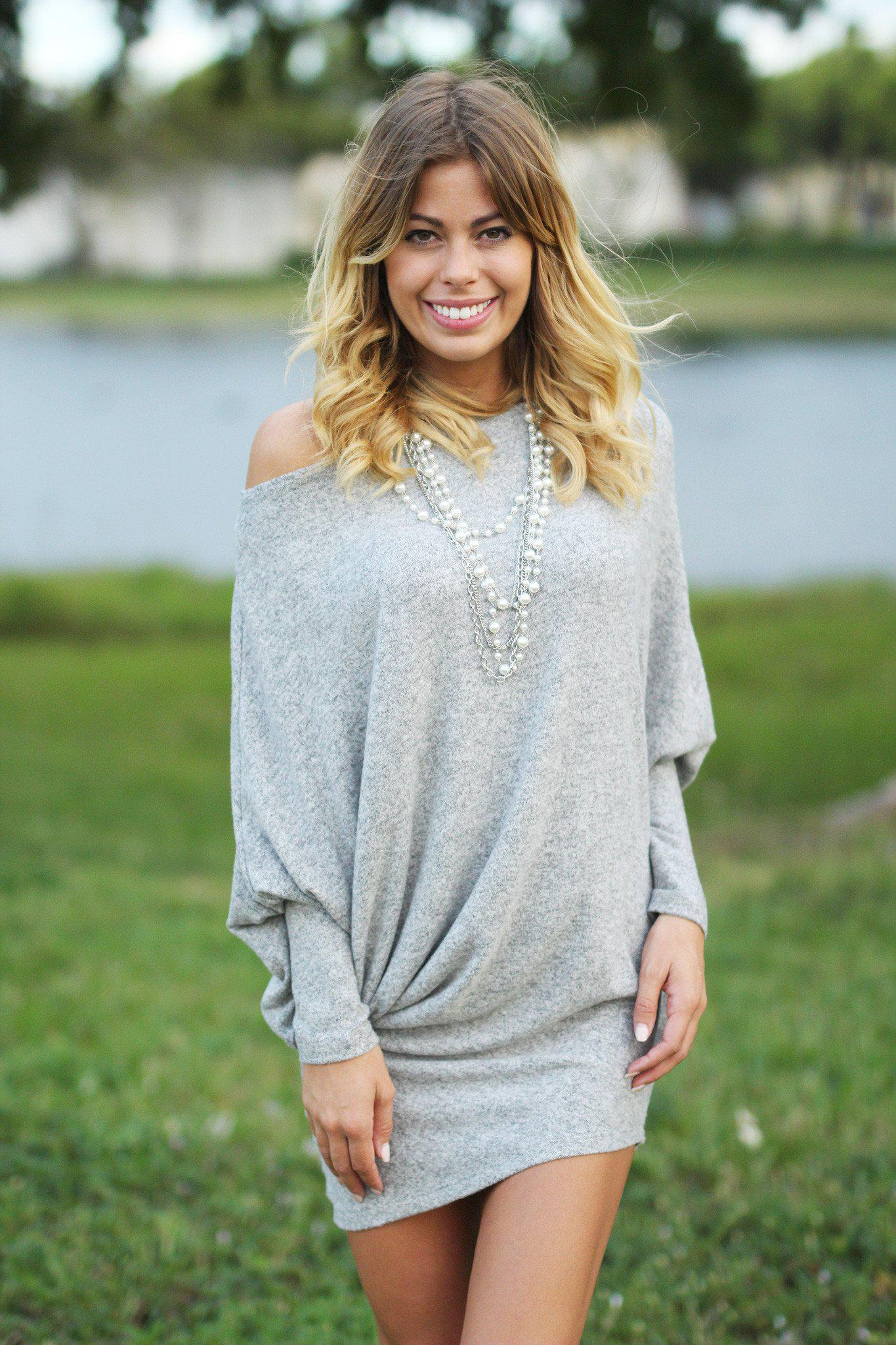 Gray Asymmetrical Long Sleeve Dress