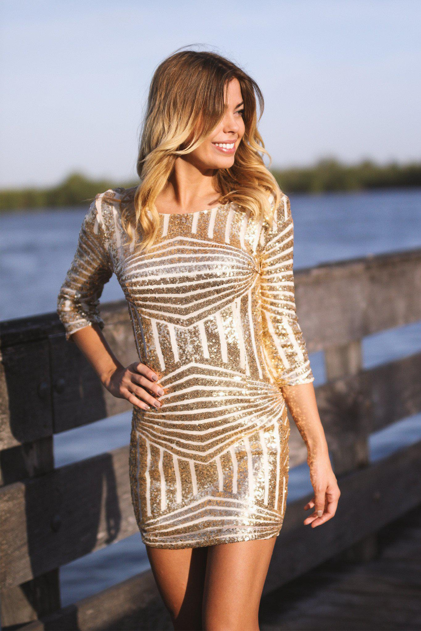 Gold Sequined Short Dress with 3/4 Sleeves