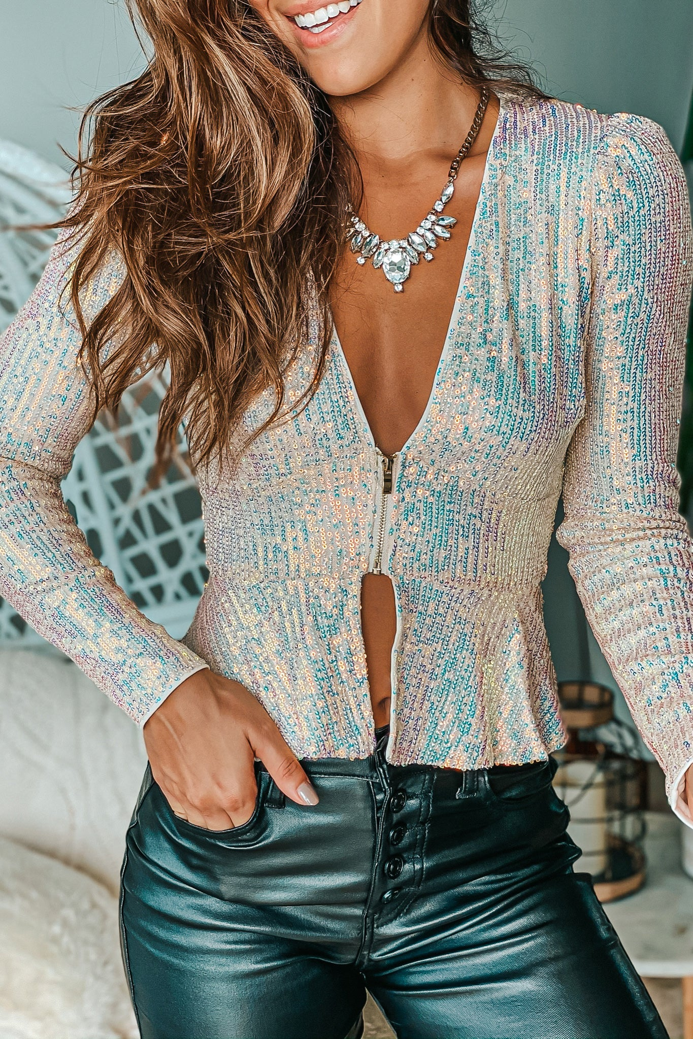 opal sequin top with zipper detail