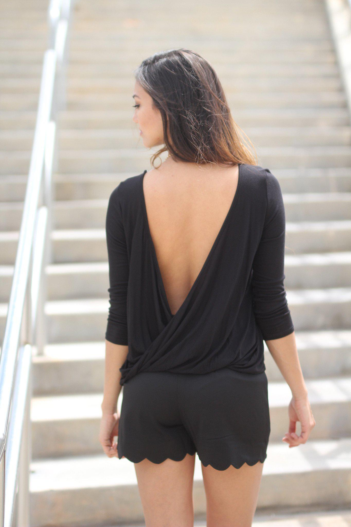 Black Open Back Top