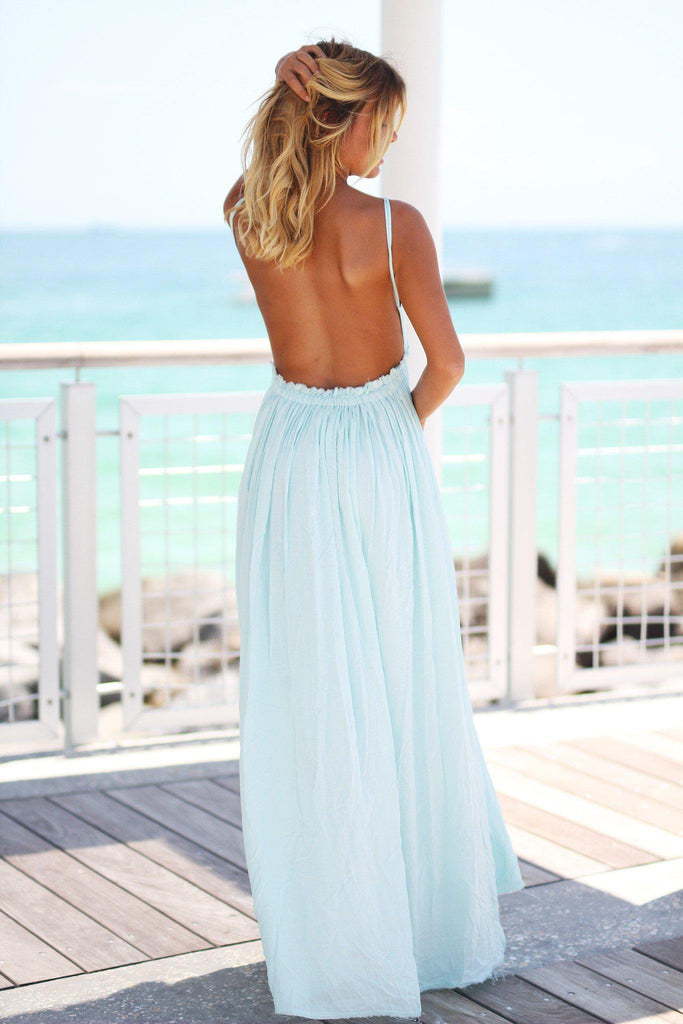 mint open back maxi dress
