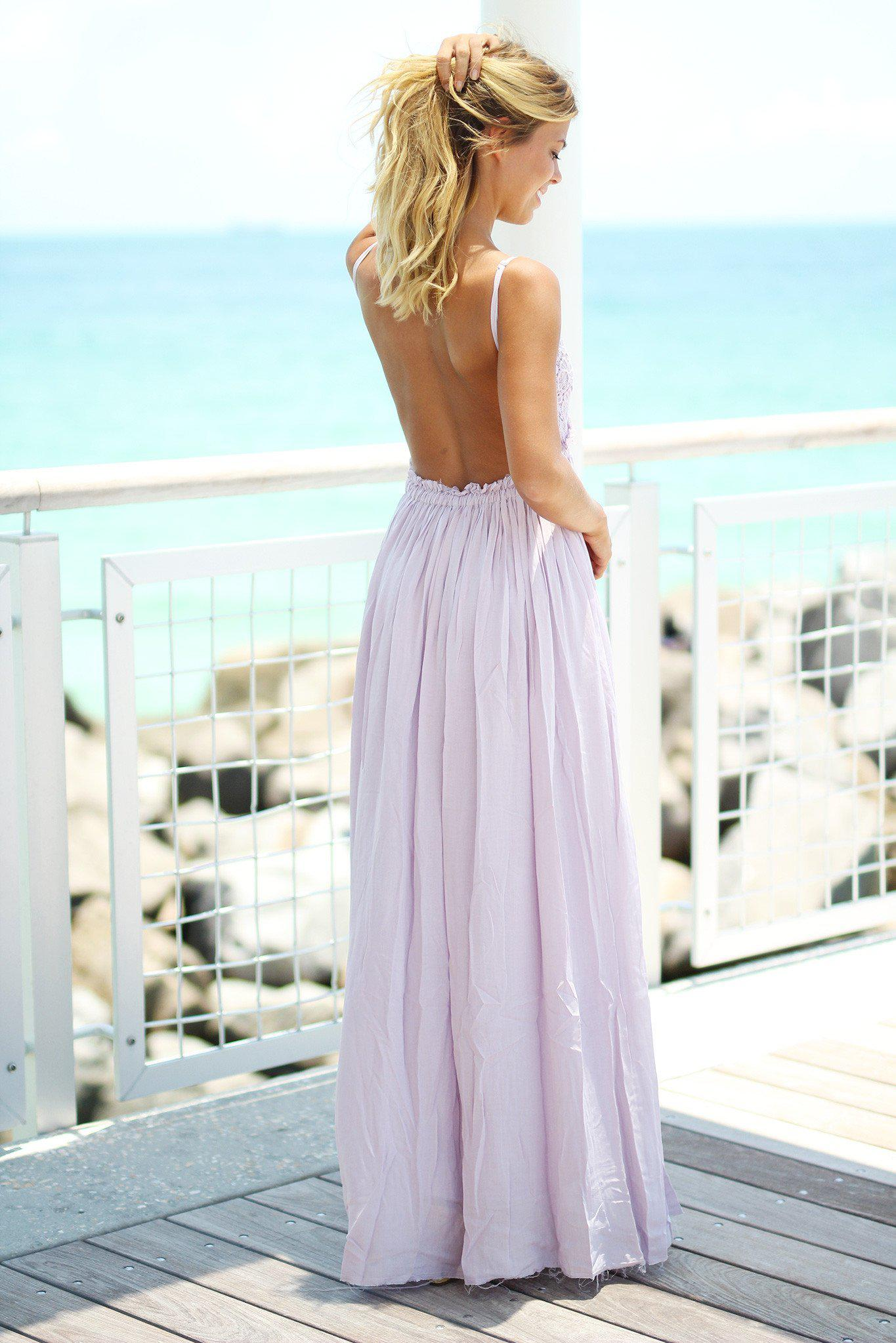 Lavender Lace Maxi Dress with Open Back and Frayed Hem ...