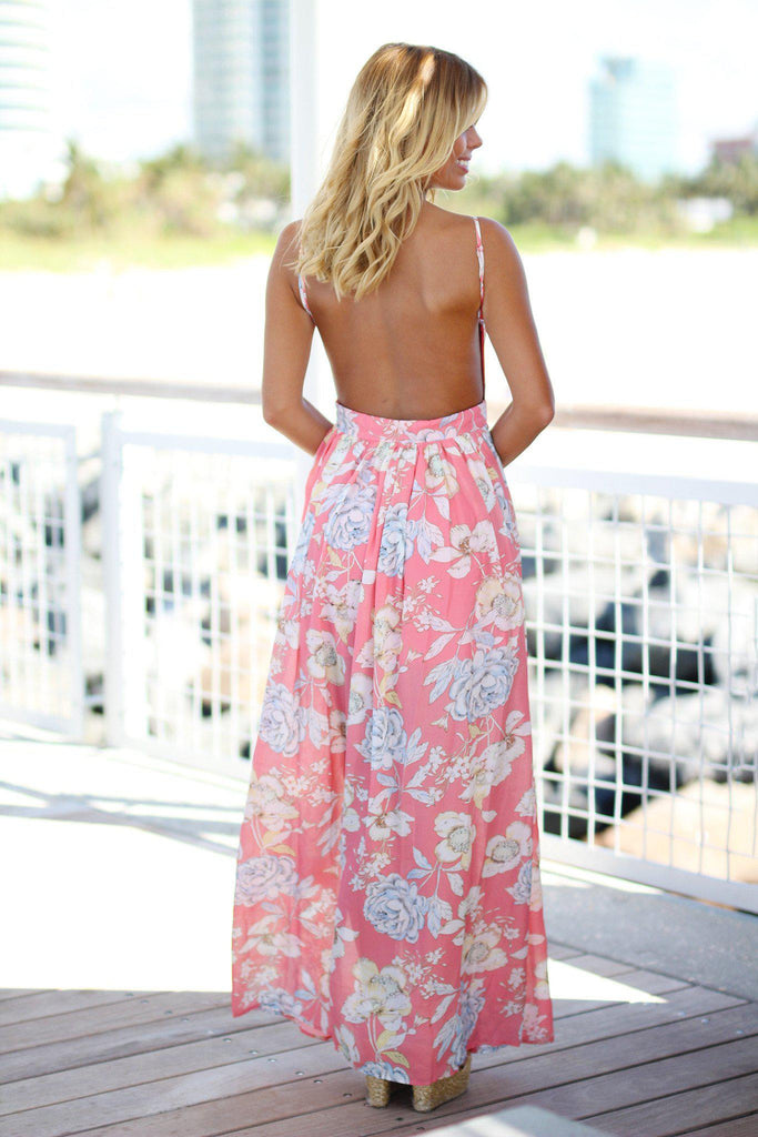 floral print maxi dress with open back