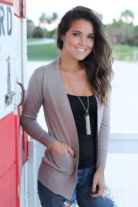 Taupe Open Cardigan