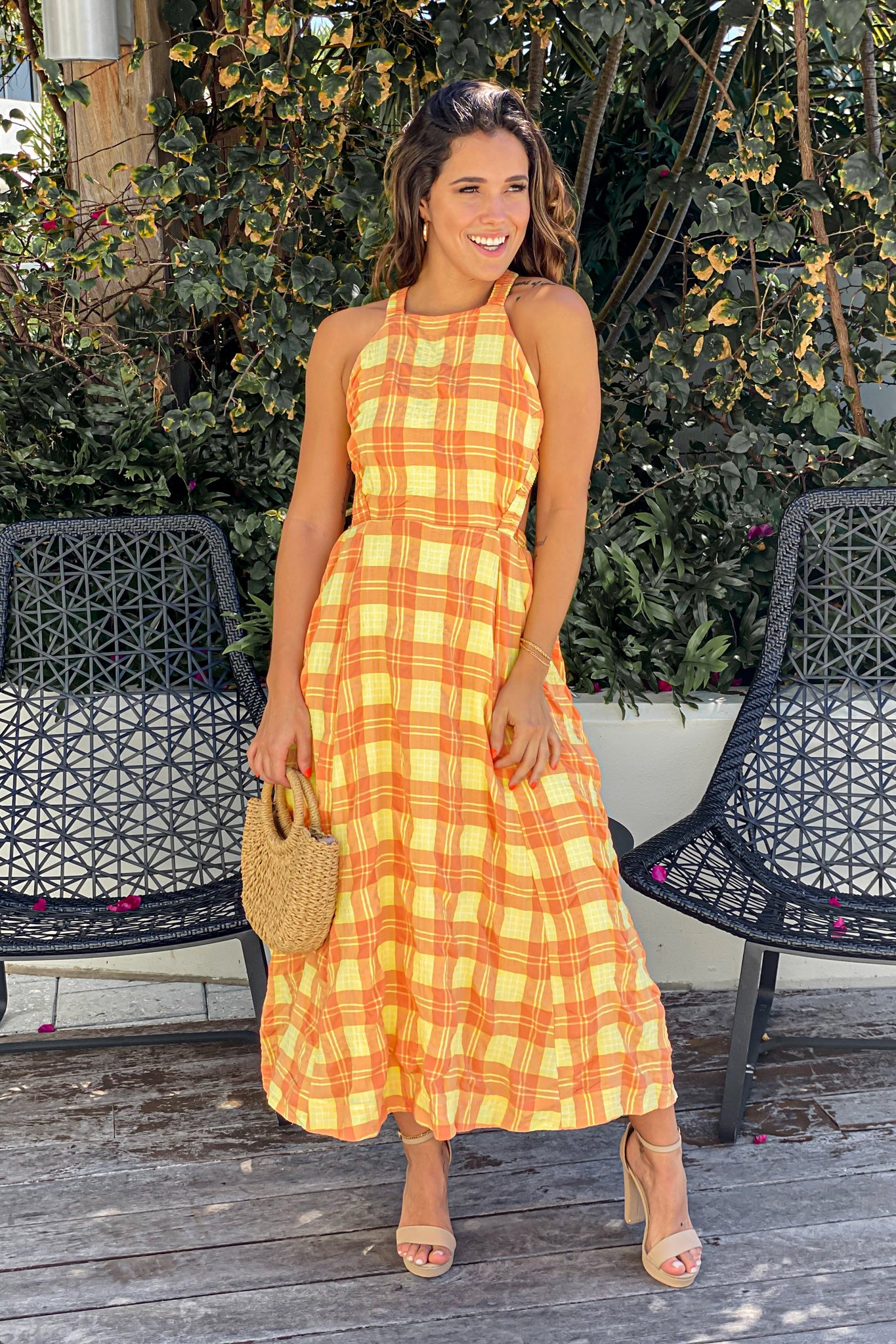 orange and yellow casual dress