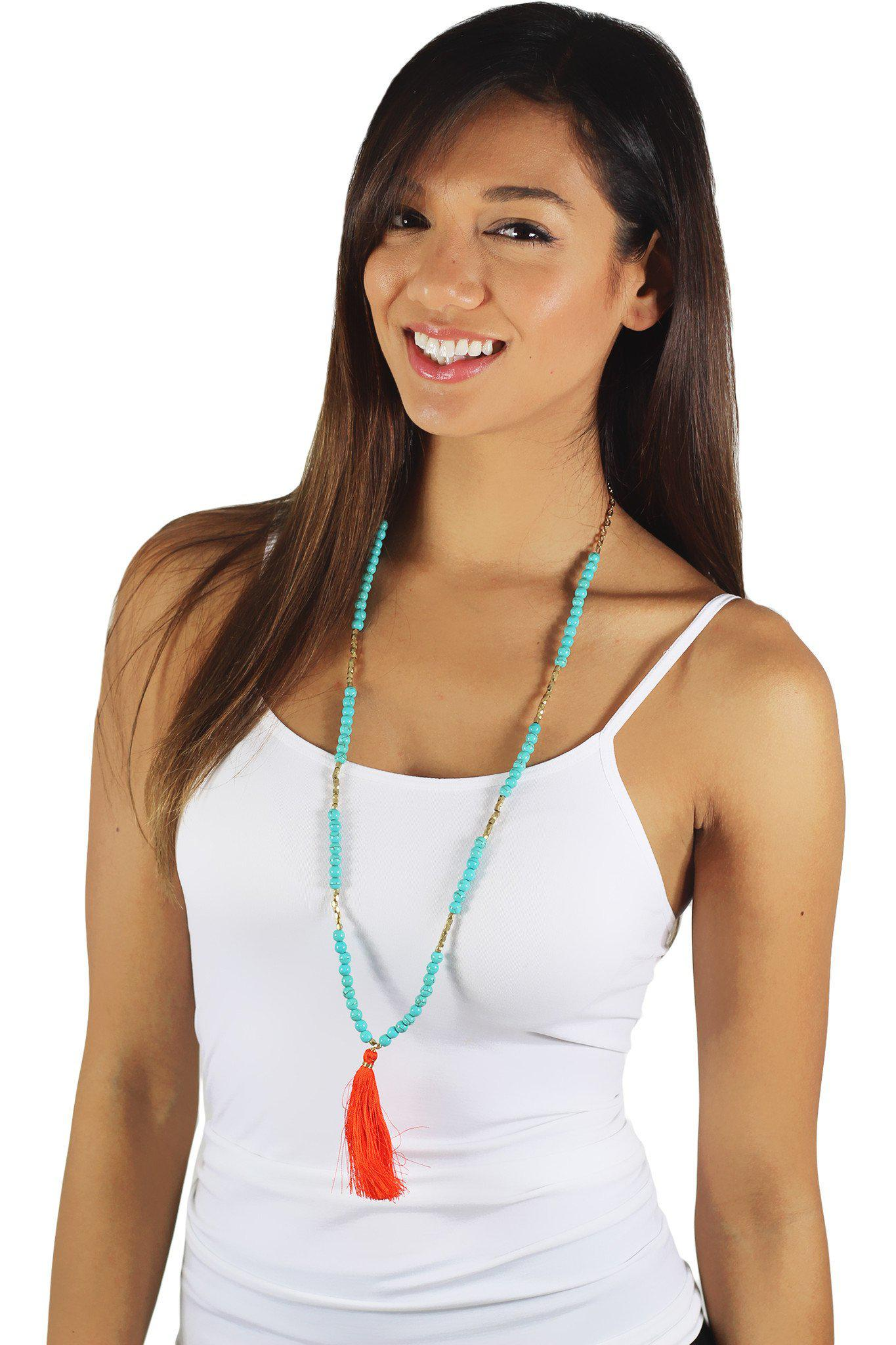 Orange And Turquoise Tassel Necklace
