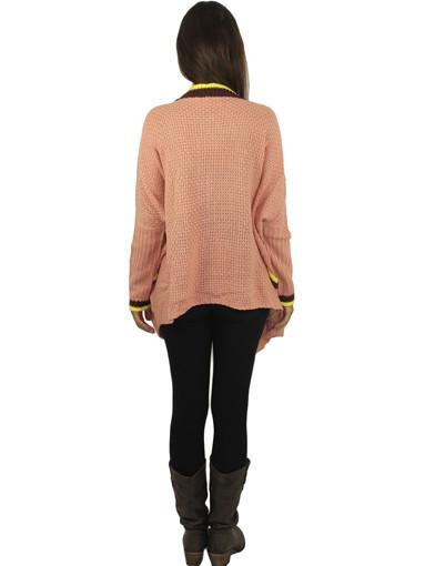 Oversized peach sweater - back view