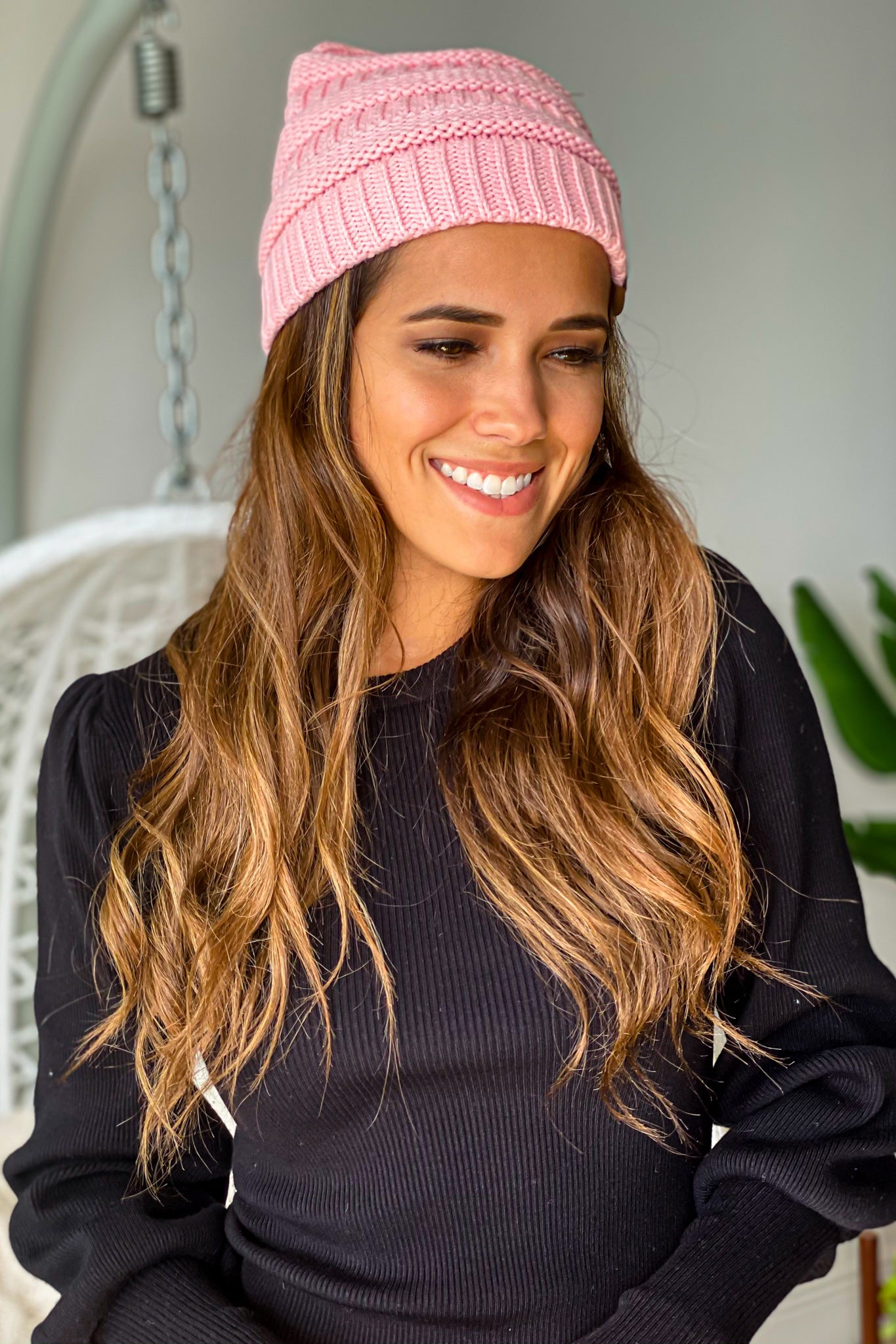 pale knit casual beanie