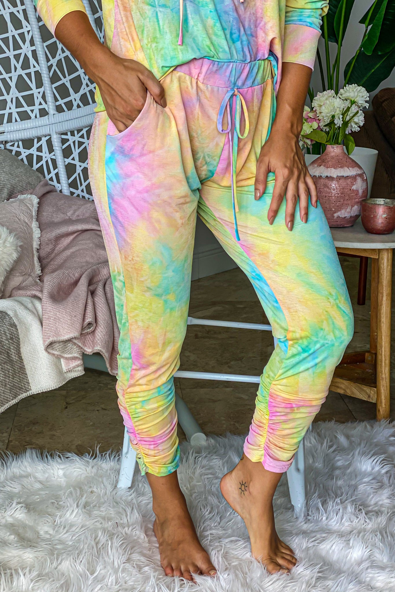 pastel tie dye pants with ruched hem