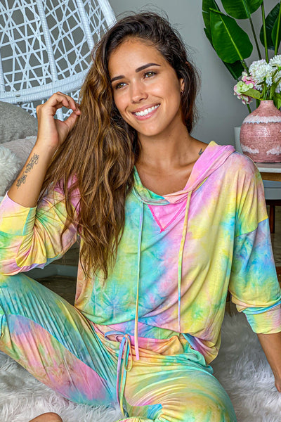 Pastel Tie Dye Top With Hood