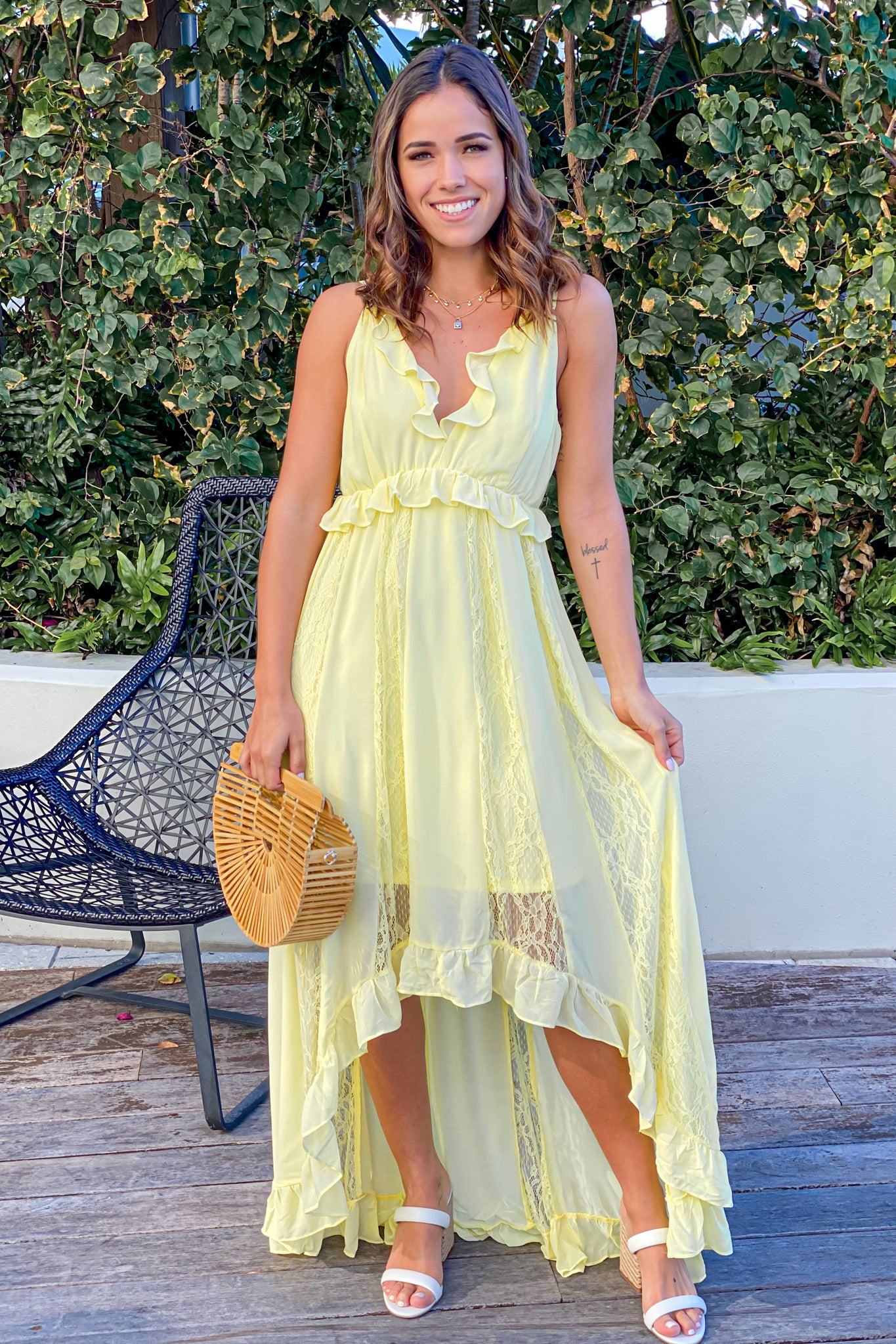Ruffled Dress with square-toed heels