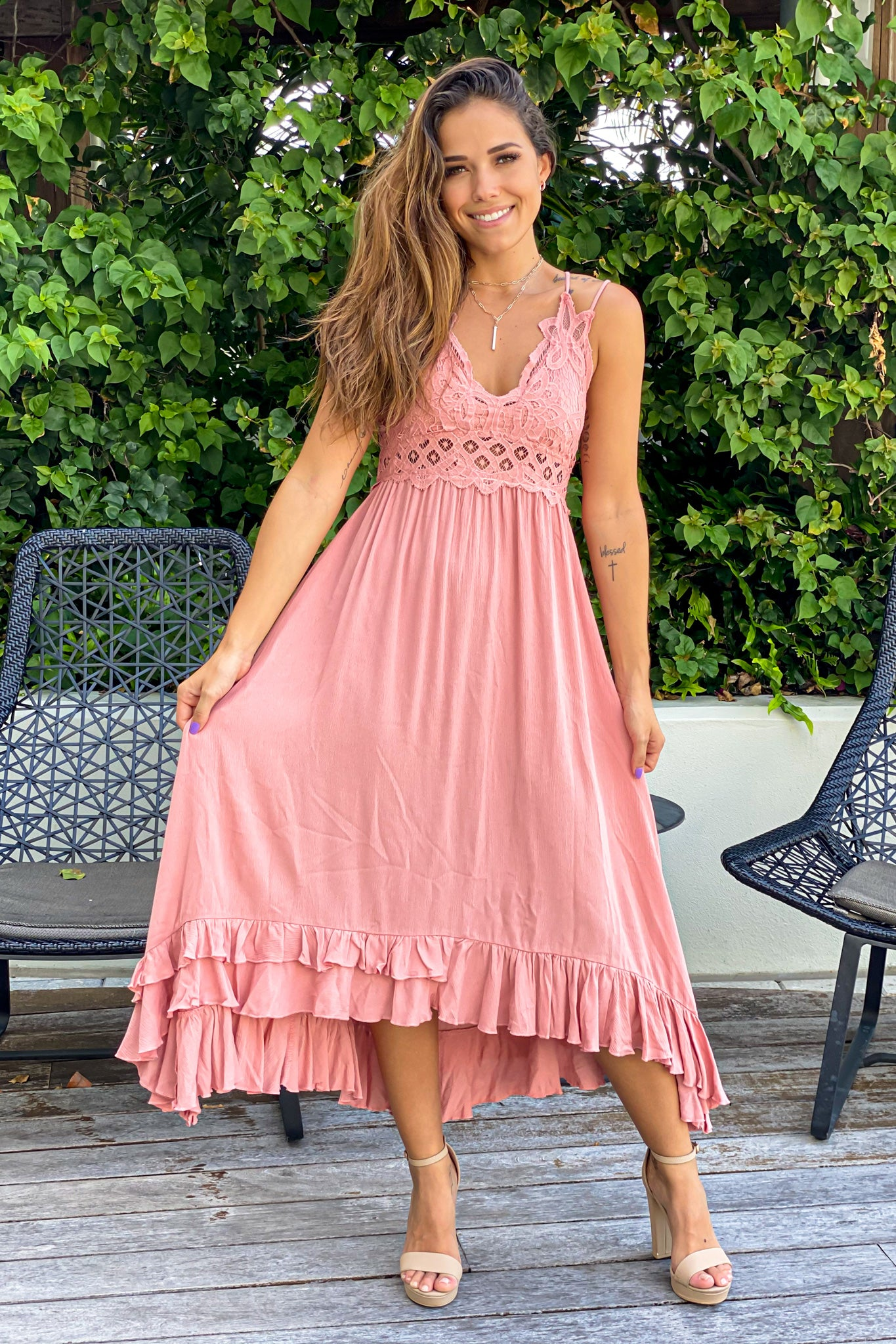 peach high low bridesmaid dress