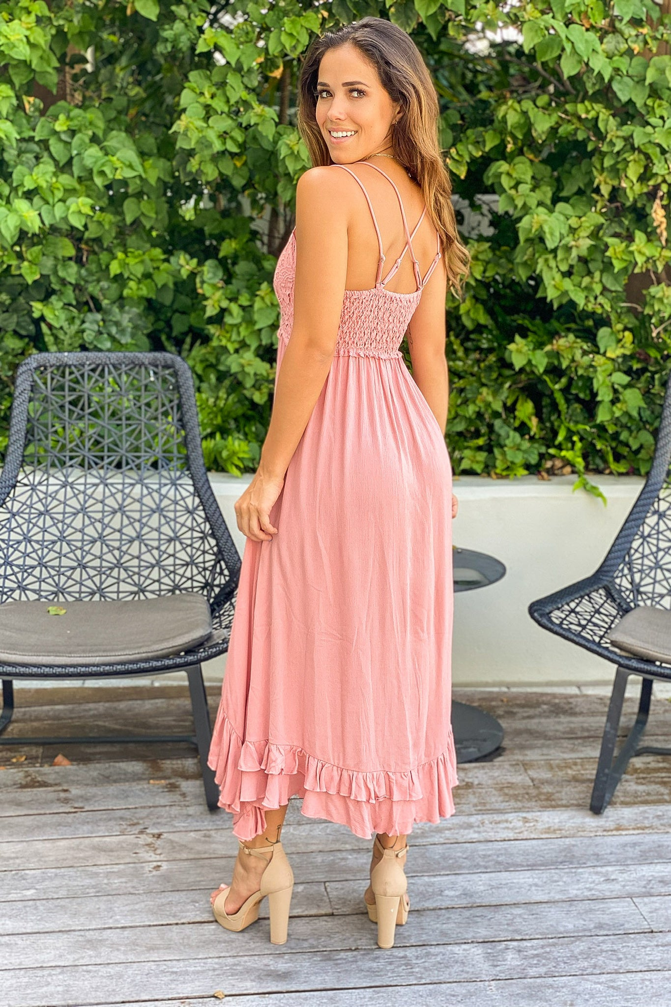 peach high low prom dress