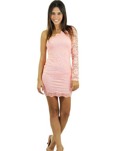 Peach lace dress - main image