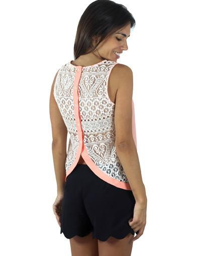 Peach Split Back Lace Tank Top