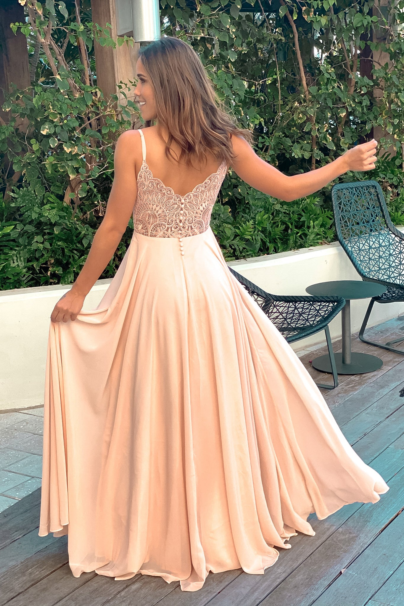 peach maxi dress with embroidered back and button detail