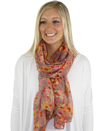 Peach printed scarf - front view