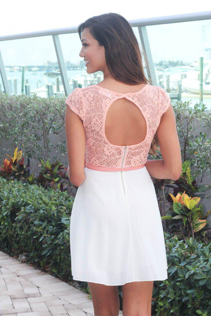 Ivory and Peach Lace Short Dress