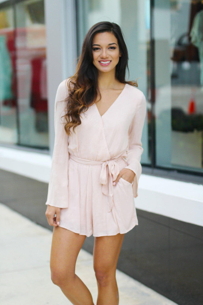 blush bell sleeve romper