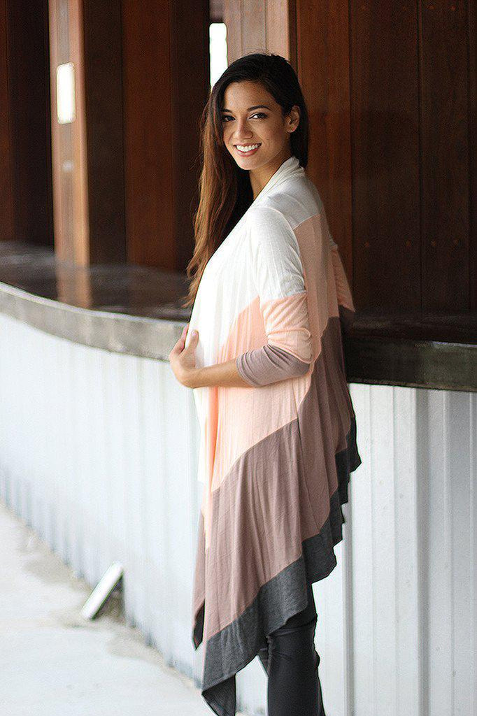Peach Color Block Long Cardigan