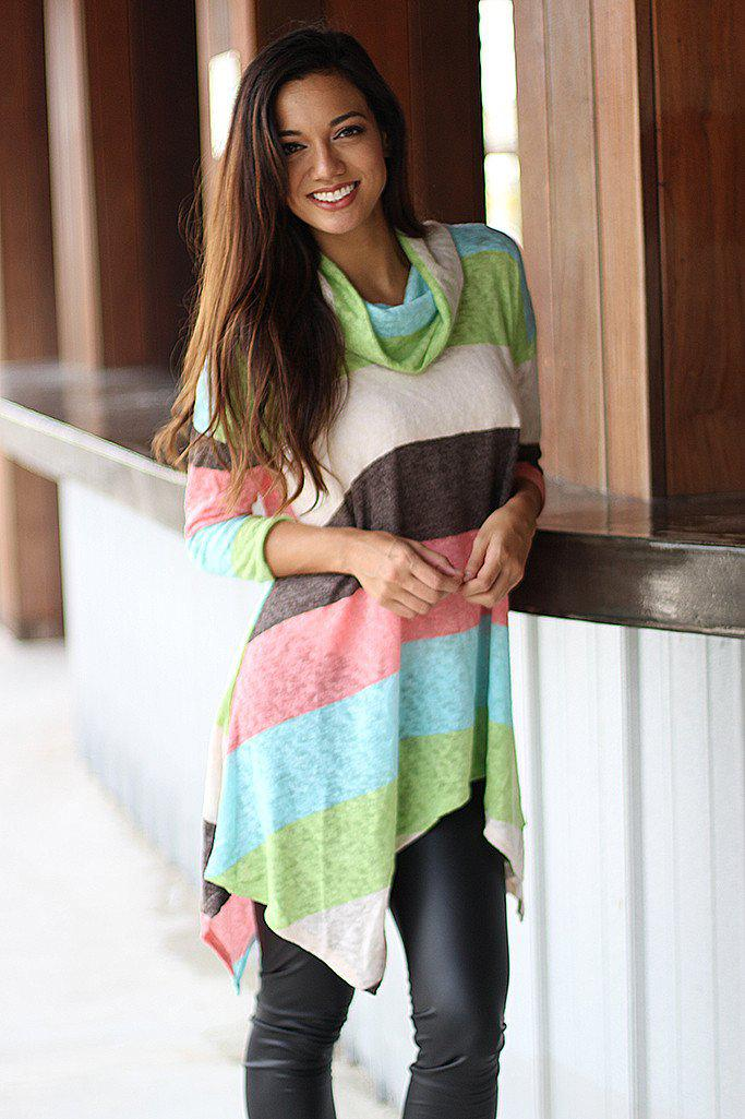 Peach Color Block Sweater
