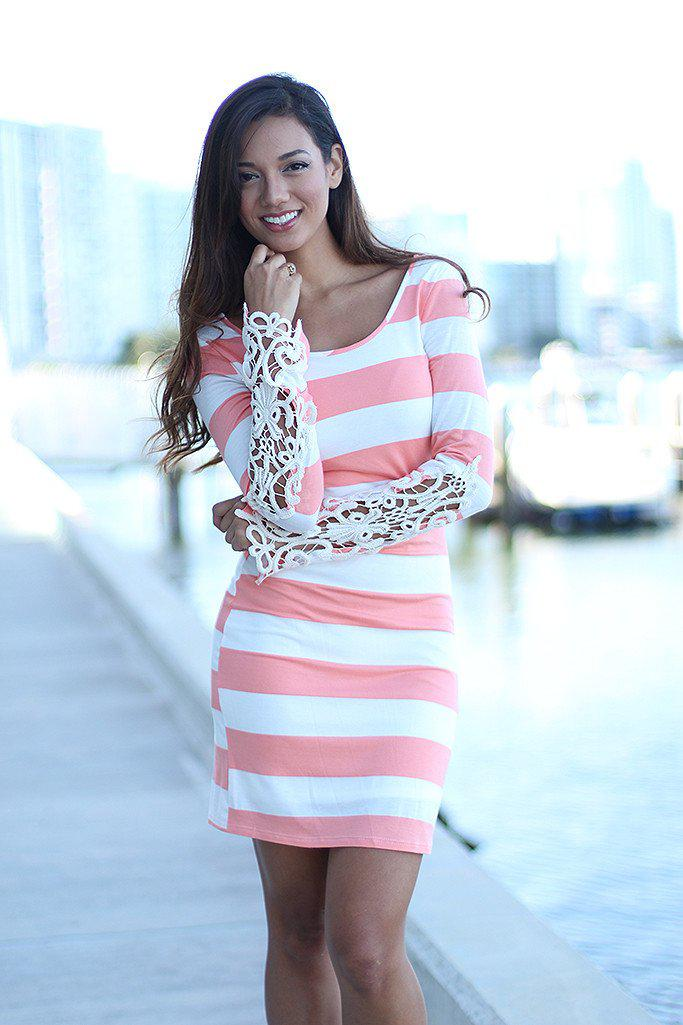 Peach Striped Short Dress with Crochet Sleeves