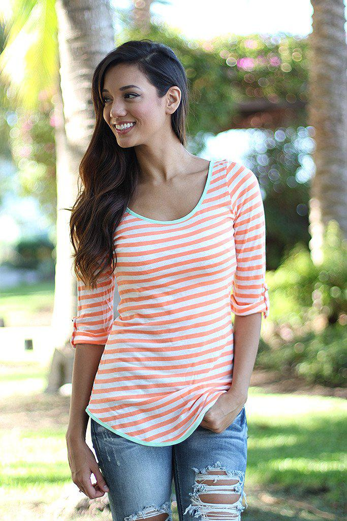 Peach Striped Top With Back Bow