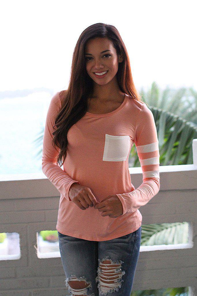 Peach Top With Pocket