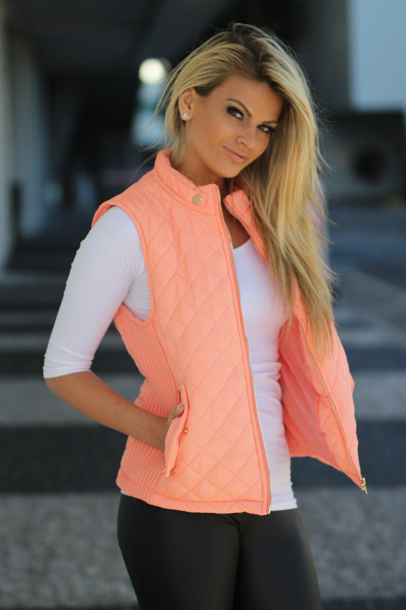 Peach Quilted Vest With Pockets