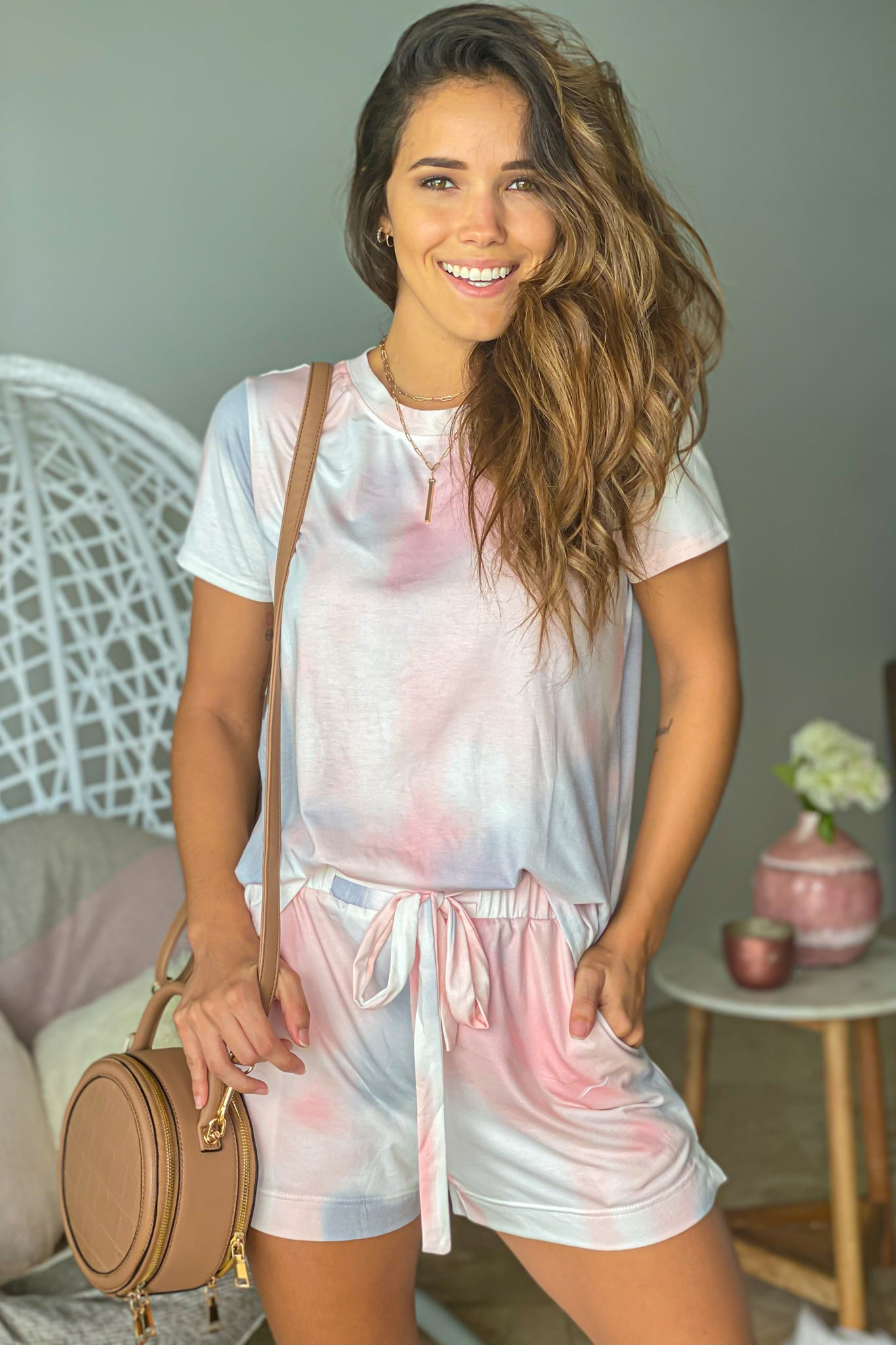 pink and gray tie dye-top and shorts set