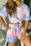 pink and purple tie dye top and shorts set