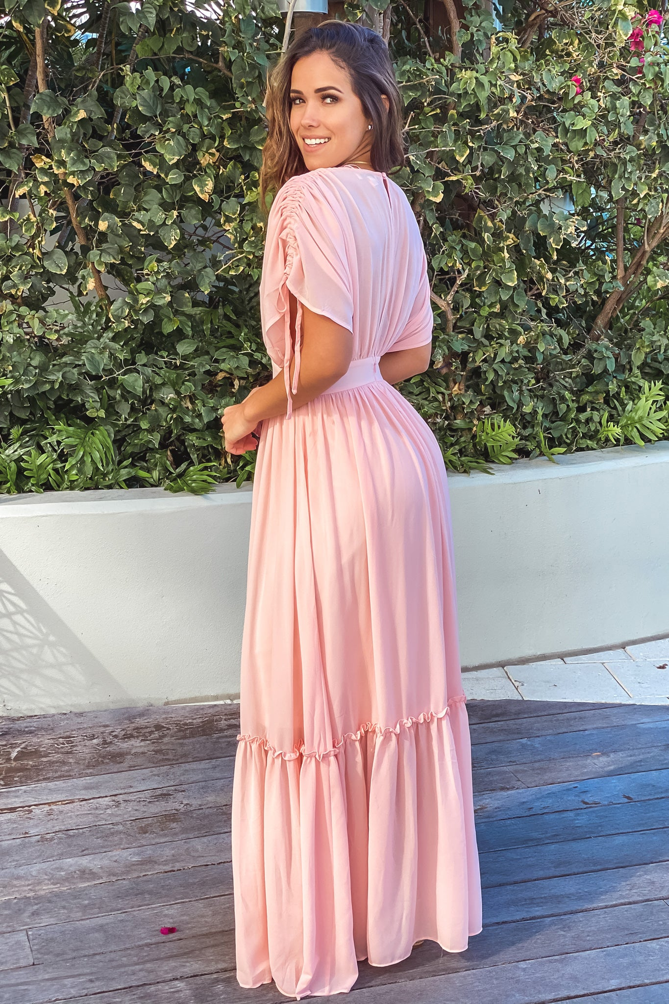 pink bridesmaids maxi dress