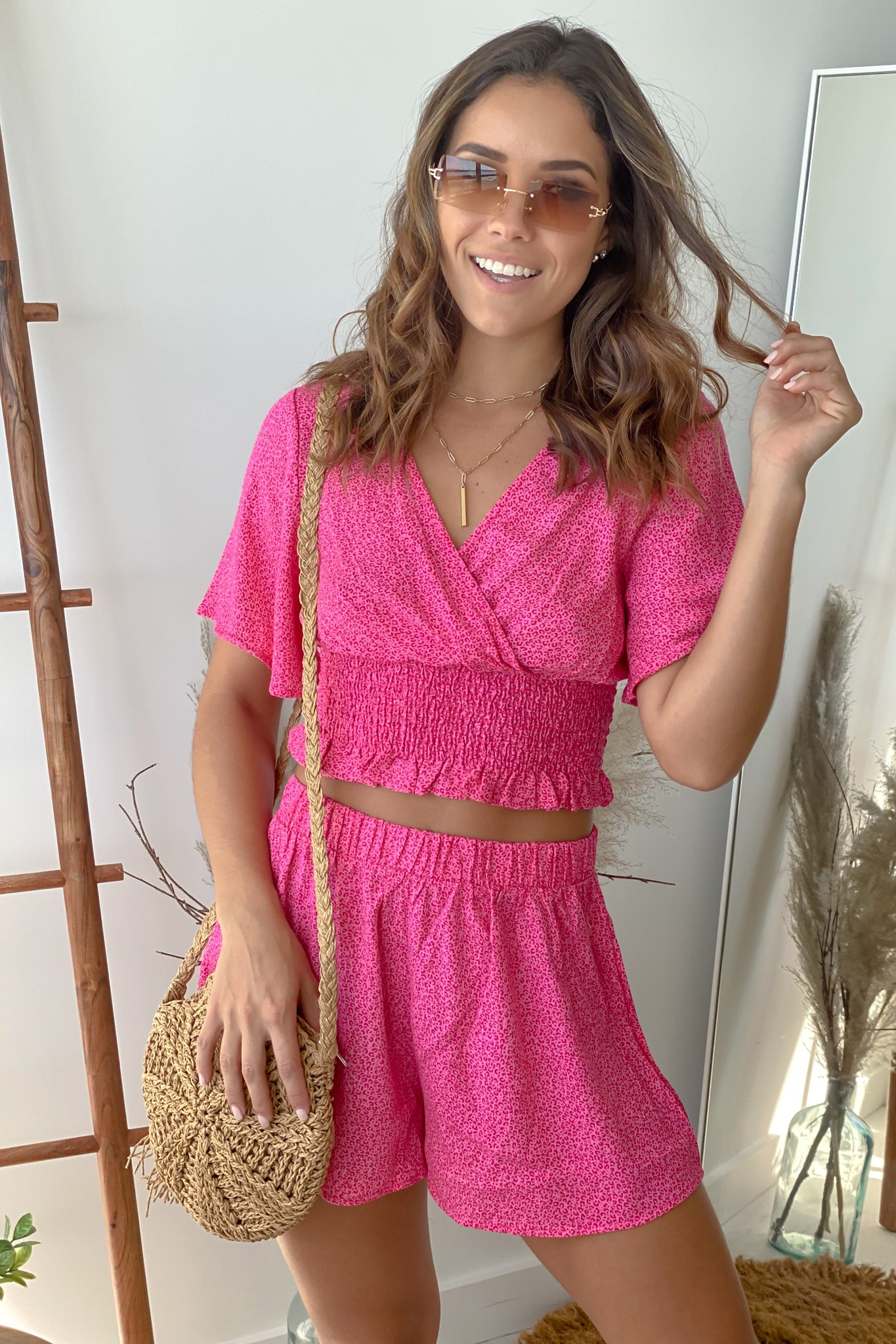 pink casual top and shorts set