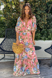 pink floral casual maxi dress
