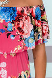 Pink Floral Off Shoulder Maxi Dress