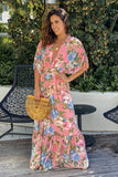 pink floral dolman sleeves maxi dress