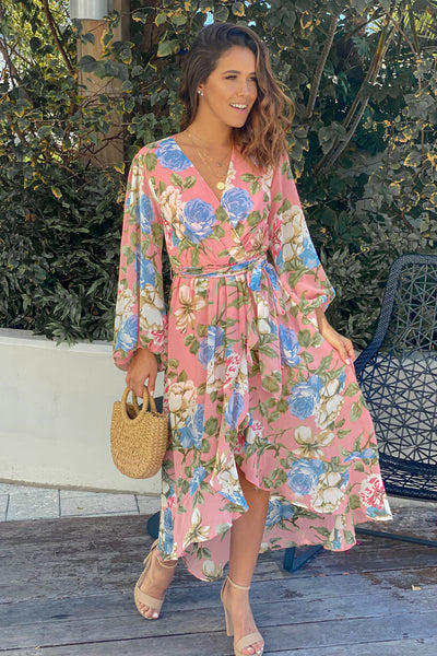 Pink Floral High Low Dress with Long Sleeves