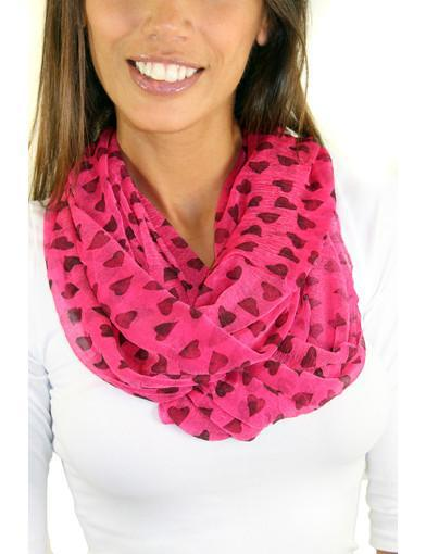 pink heart scarf
