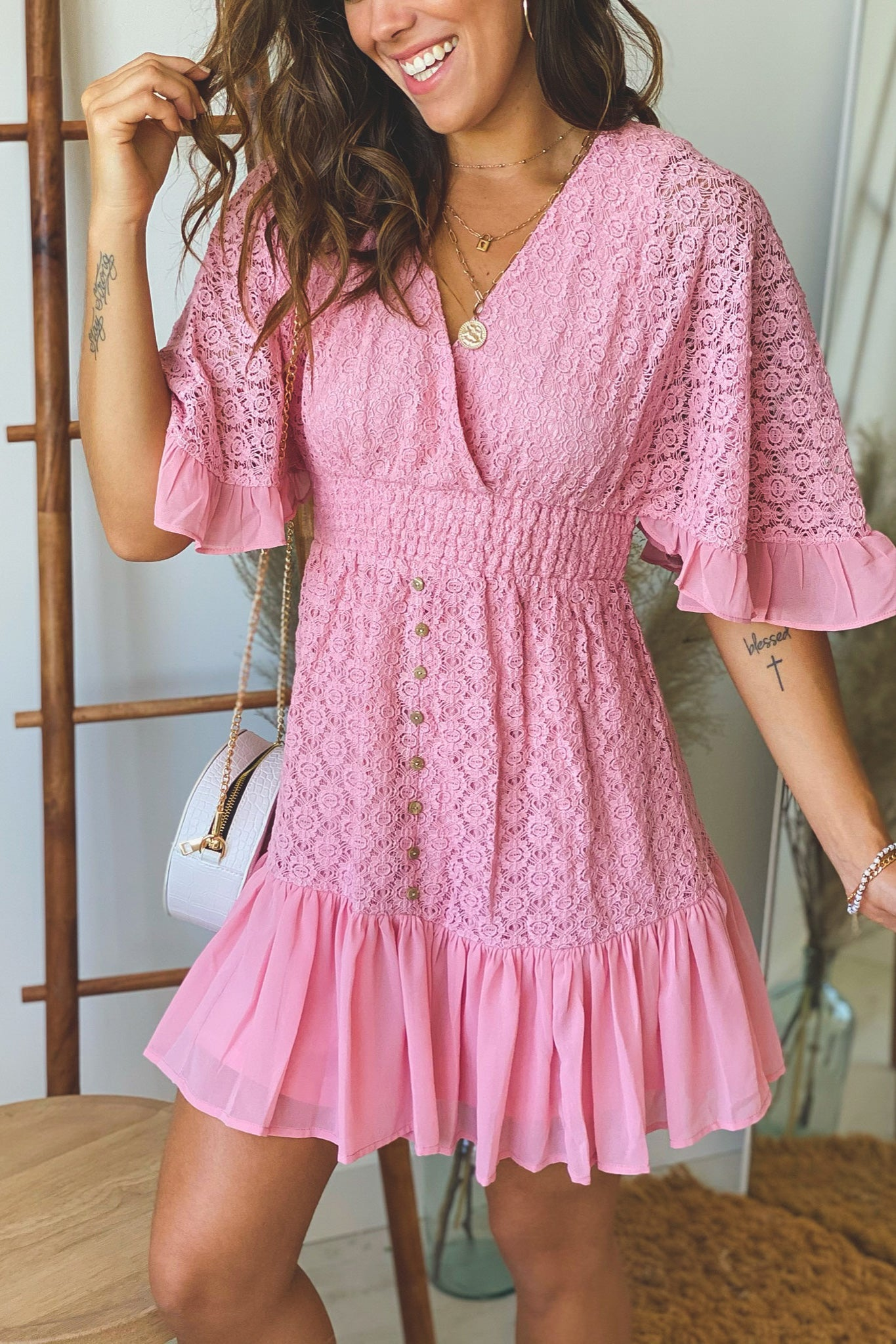 pink lace short dress with sleeves
